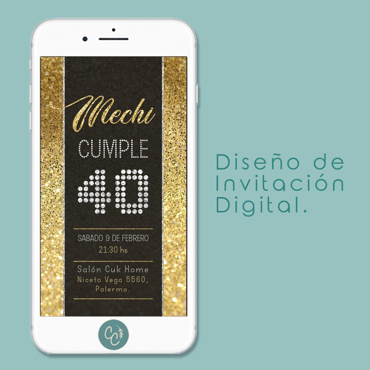 Invitación Digital Para Cumpleaños De 40